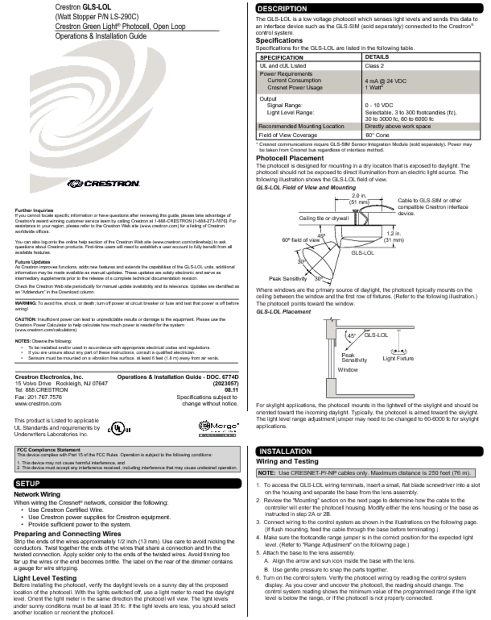 Stud Sensor Users Guides Page 9 Wiring Photosensorphotocellpng Wattstopper P N Ls 290c Photocell Light Gls Lol Manuals