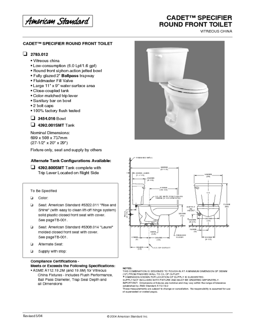 Cadet Specifier Round Front Toilet 2783 012 Manuals